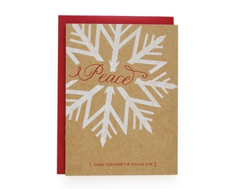 Love, Joy, Peace Letterpress Christmas cards, set of 6