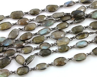 Labradorite Bezel Chain Component, ,11X9 mm, Sold By the Foot (GMB-LAB-01)