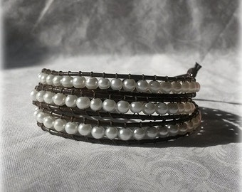 Pearl Wrap Bracelet - White Pearls with Brown Leather
