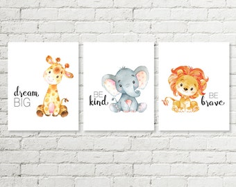 Safari Nursery Print, Giraffe Dream Big, Elephant Be Kind, Lion Be Brave Baby Shower Gift Printable Wall Art 5x7 8x8 8x10 11x14 Download