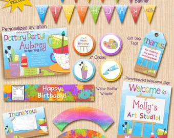 Pottery Party Invitation and printable decoration package. Paint party. Art Party. Birthday Ceramics. Invitation included!