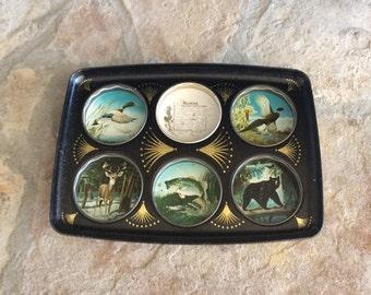 Vintage Black Tin Drink Holder Tray, Souvenir Tray, Wyoming, Hunting, Fish/Bear/ Deer/ Ducks, Masculine Bar Cart Tray