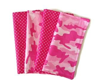 Kids Cloth Napkins, Cotton Reversible Napkins, Set of 4, Pink Camo Print, Double Sided Lunchbox Napkins,  Reusable, Girls, Washable