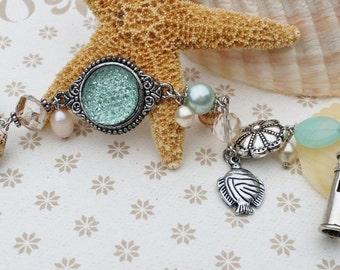"Seafoam Beach Silver Beaded Charm Bracelet ""HE CALMS the STORM"" Beach Wedding Jewelry Inspirational Jewelry Unique Jewelry Beach Jewelry"