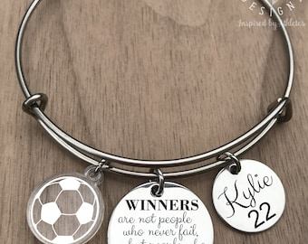 Soccer Bracelet, Soccer Bangle, Soccer Jewelry, Girls Soccer Gifts, Soccer Girl Gifts, Soccer Player Gift