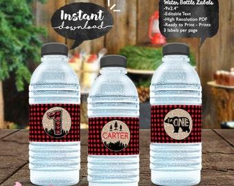 INSTANT DOWNLOAD - EDITABLE Lumberjack Birthday Water Bottle Labels - Lumberjack first birthday printable Party decorations