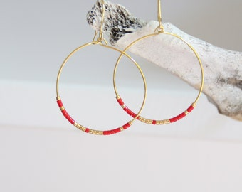Hoop earrings, gold plated and red beads