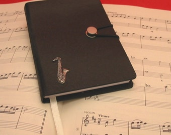Saxophone Hand Cast Pewter Motif on A6 Black Journal Music Teacher Gift Saxophonist Gift Christmas Gift