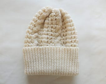 Hand Frame Knitted Popcorn and Cable Hat