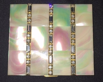 The Picture of Beauty - Vintage Marhill Compact Genuine Mother of Pearl w/ Rhinestones