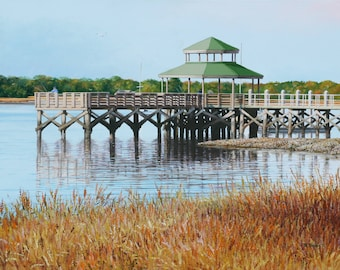 Fishing Pier on The Ashley River, Charleston, SC, Original Acrylic Painting on 28 x 24 Canvas.