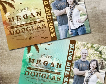 Destination Wedding Save the Date Postcard, Tropical Save the Date, Blue or Orange Ombre Sunset and Palm Tree, DIY Printable Save the Date