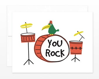 You Rock Drum Kit Card - Funny Friendship Card, Valentine's Day Card, BFF Card, Anniversary Card, Just Because Card, Card for Him, Dudes