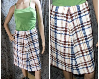 Plaid Skirt, Vintage skirt, 70s Plaid Skirt, 70s Skirt, Womens plaid skirt, White Plaid skirt, Long skirt, Pencil Skirt, Epsteam