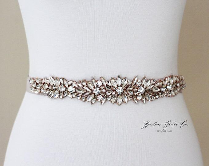Rose Gold Bridal Belt, Bridal Sash, Beaded Bridal Sash, Wedding Belt, Wedding Sash Rhinestone Sash B63RG