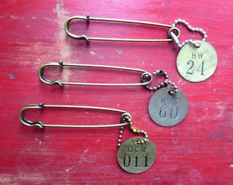 3 Vintage brass tags 1 1/2 inch metal tags Numbered tags Number 11 Number 60 Number 24 Large laundry pins Hardware tags #1