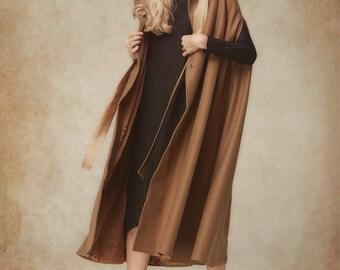 Camel Wool Jacket, Wool Coat, Wool Cloak, Maxi Wool Hooded Cashmere Coat Jacket, Wool Coat Cape, Winter Women Coat, Camel Coat, Maxi Coat