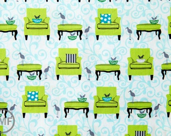 Perfectly Perched Nesting Chairs in Meadow, Laurie Wisbrun, Robert Kaufman Fabrics, 100% Cotton Fabric, AWN-12848-270 MEADOW