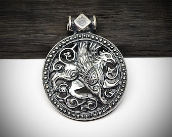 Gryphon, griffin or griffon silver plated brass pendant, Fantasy creature jewelry, Medallion necklace
