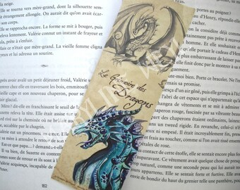 Blue, turquoise and red dragon bookmark