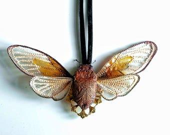 dark purple-gold cicada pendant,fiberart, soft sculpture,