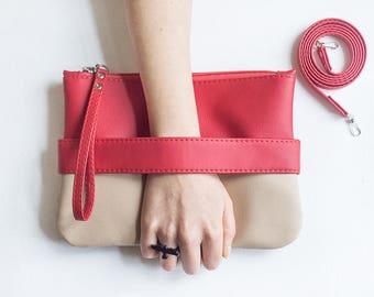 Red clutch purse Evening bag Crossbody purse Vegan clutch Vegan leather purse Small crossbody bag Vegan bag Wristlet Evening clutch bag Gift