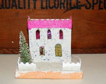 Vintage Mica Glitter covered Putz House Pink Snow covered Roof Glittered Bottle Brush Tree and Fence Japan