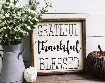 Grateful Thankful Blessed Sign Fall Sign Fall decor