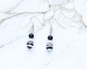 Silver Black and White Earrings, Vintage Black Stone Earrings, White Glass Earrings, Zebra Stripe Earrings, Simple Neutral Dangle Earrings