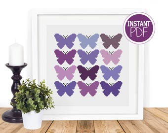 Butterfly Cross Stitch Pattern, Butterfly Cross Stitch Chart , Modern Cross Chart Pattern , counted cross stitch by Peppermint Purple