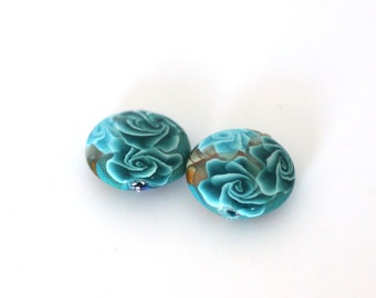 Polymer Clay Beads, Lentil Beads, Turquoise Bead Pair, 2 Pieces