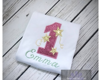 First Birthday Glitter One with stars