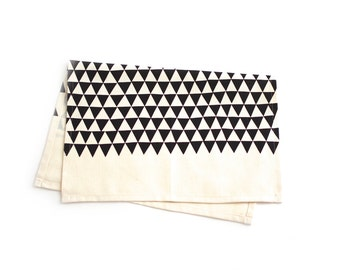 Triangles - Tea Towel - Black - Organic Cotton & Hemp - Screen Printed