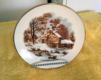 Currier & Ives Old Homestead Winter Fuller Brush Plate