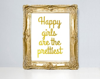Audrey Hepburn quote, typography print, gold foil type, happy girls are the prettiest, metallic foil, quote, poster