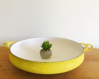 Vintage Dansk Kobenstyle Large Pan - Paella - Casserole Dish - Yellow - Enamel - Vintage - Jens Quistgaard - Mid Century Modern Enamelware