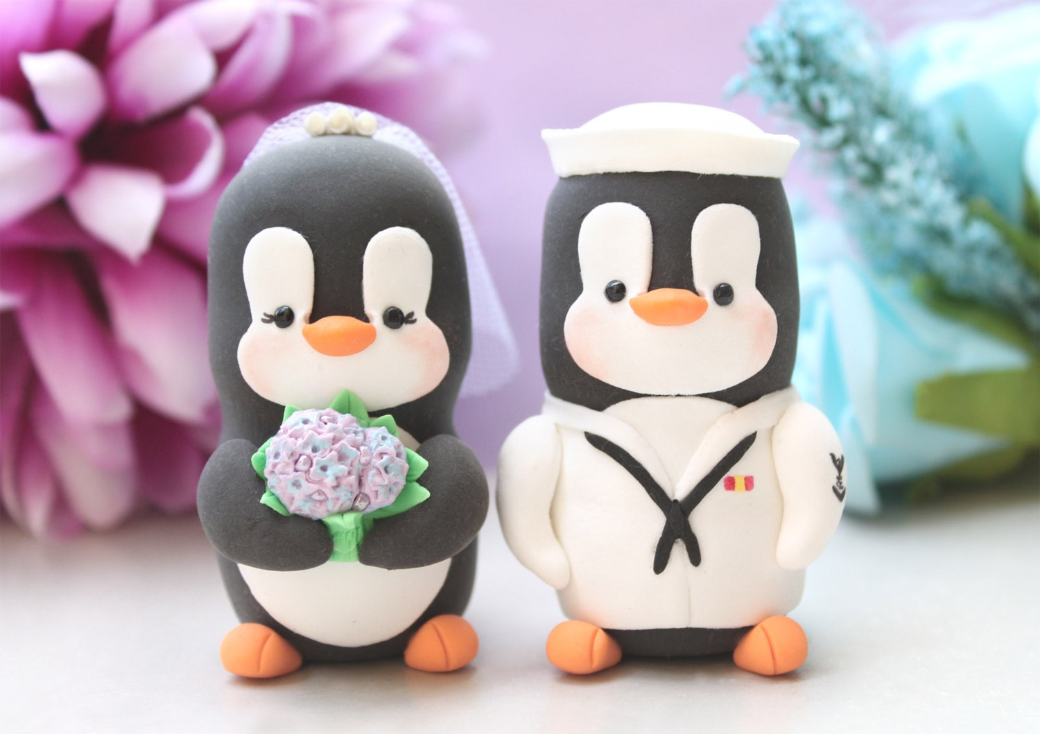 Wedding cake toppers Military Penguin US NAVY hat unique