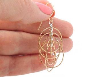 14K Gold Filled and Sterling silver 925 Dangle Multiple Circle Simple Hammered Hoop Long Earrings - AL25