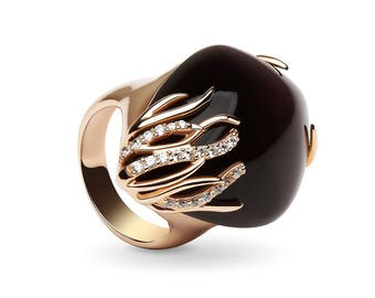 Rose gold plated Ring with Cats Eye Stone