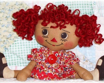 Small Doll Pattern, Cloth Doll Pattern, Rag Doll Pattern, PDF Sewing Pattern, Raggedy Ann pattern, primitive doll pattern, Annie, curly hair