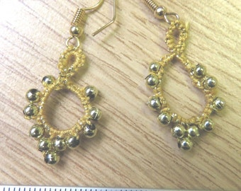 Tatted gold drop earrings
