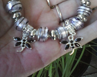 Double Dragonfly's, and Pink Lamp work glass, Euro style bracelet