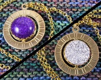 Spinner Pendant Necklace - Gold, Purple & Silver Gems - Stim Jewelry