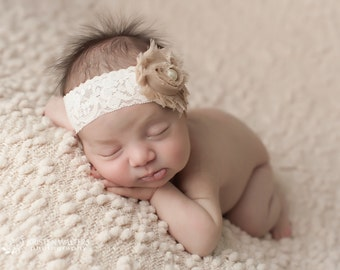 FREE SHIPPING! Beige Headband, Shabby Chic Headbands, Beige Baby Headbands, Headbands Beige, Newborn Headbands, Photography Prop
