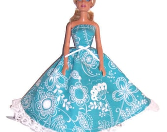 Fashion Doll Clothes-Light Teal Floral Strapless Dress