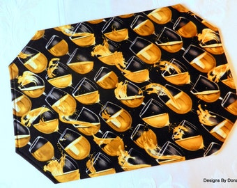 One or More Quilted, Reversible Placemats, Glasses of Wine Spilling on a Black Background, Handmade Table Linens