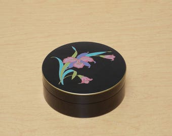 Tagiri Large Lacquered Coasters, Black with Orchids, Set of 6