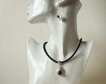 Faceted Amethystperle Rubber Necklace freshwater Zuchtperle Disc