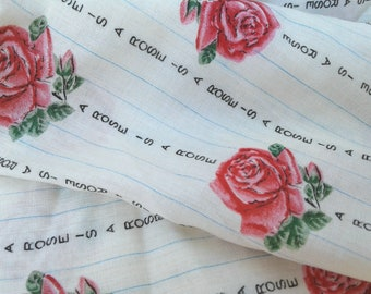Fabric * A Rose is a Rose is a Rose * Vintage * Ticking Style Trail of Roses *Unusual* Farmhouse Country Chic * Lightweight Cottage Textile