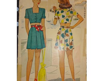 1940s Style Playsuit Crop Top and Pleated Shorts Custom Made in Your Size From a Vintage Pattern
